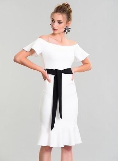 People By Fabrika Omuzları Açık Midi Elbise Beyaz